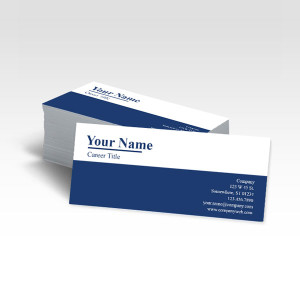 Mini business cards, skinnier than the standard business card size.