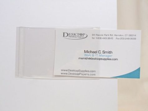 Transparent business card sleeves.