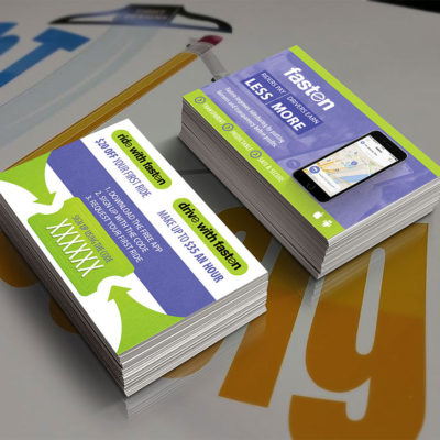Buy Custom Designed Fasten Referral Cards to promote your unique promotional code.
