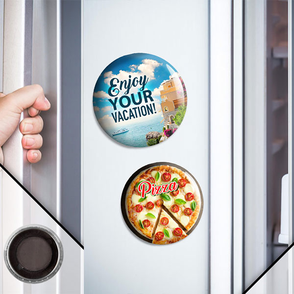 Custom Metal Buttons with Magnet Backing placed on Refrigerators and used for business promotion or souvenir.