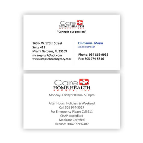 Care Home Health Agency - Business Cards