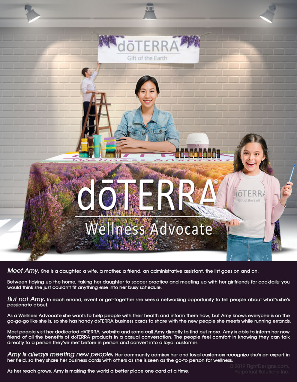 Amy is a doTERRA Wellness Advocate who uses TightDesigns.com marketing materials to maximize her networking opportunities.