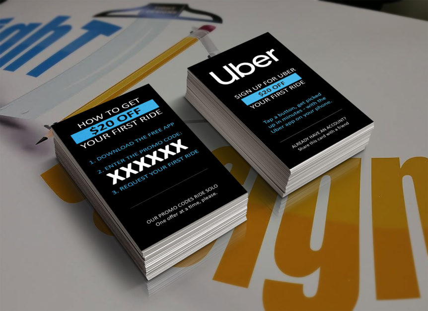 Uber Rider Referral Cards with Official 2019 Logo
